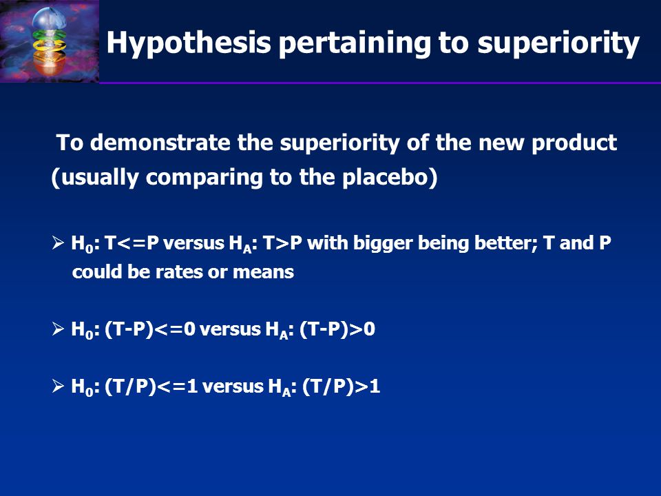Hypothesis pertaining to superiority