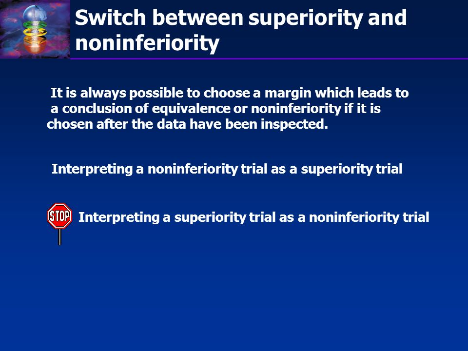 Switch between superiority and noninferiority