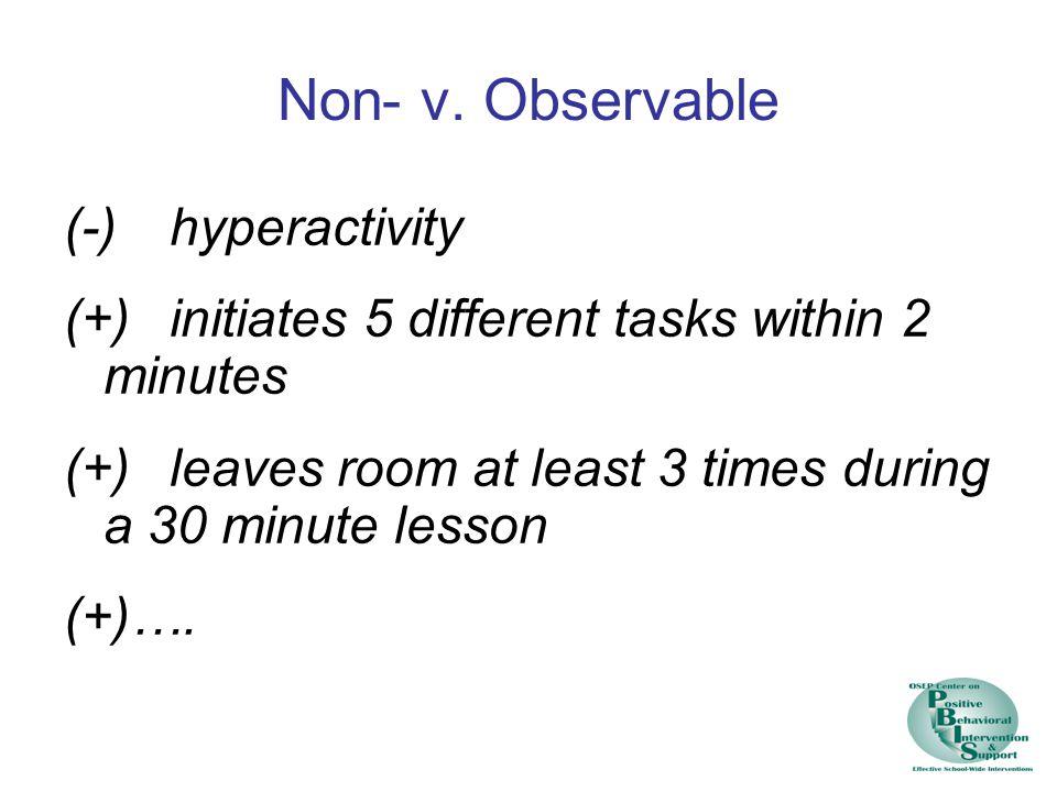 Non- v. Observable (-) hyperactivity
