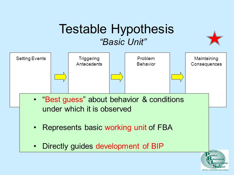 Testable Hypothesis Basic Unit