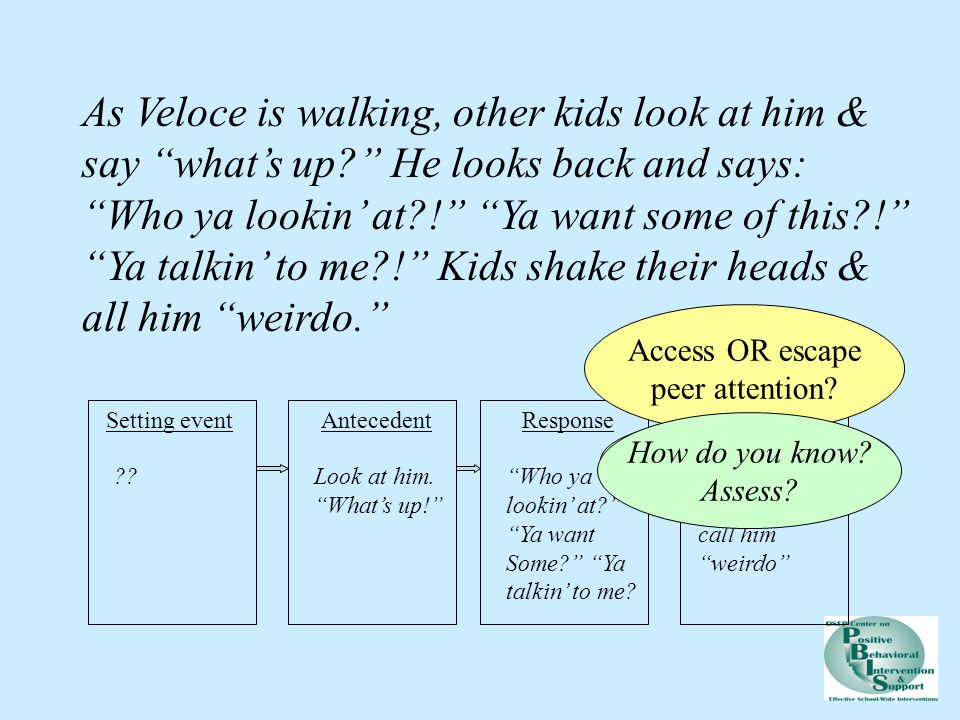 As Veloce is walking, other kids look at him & say what's up