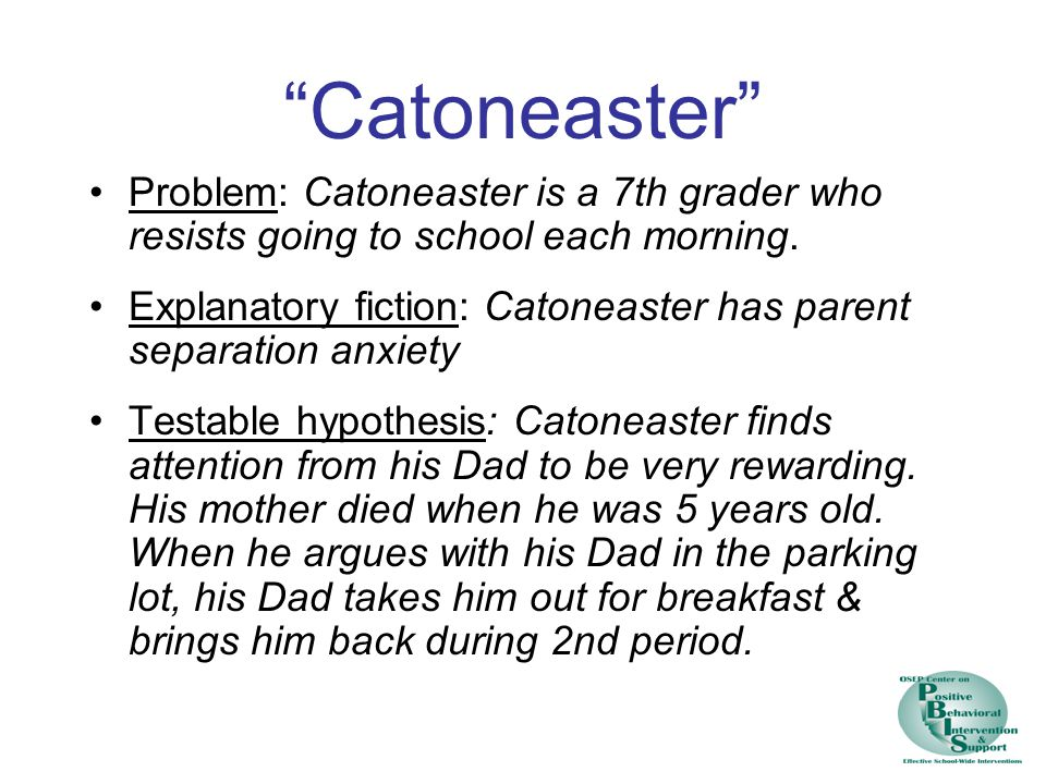 Catoneaster Problem: Catoneaster is a 7th grader who resists going to school each morning.