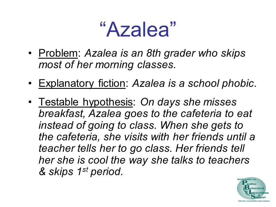 Azalea Problem: Azalea is an 8th grader who skips most of her morning classes. Explanatory fiction: Azalea is a school phobic.