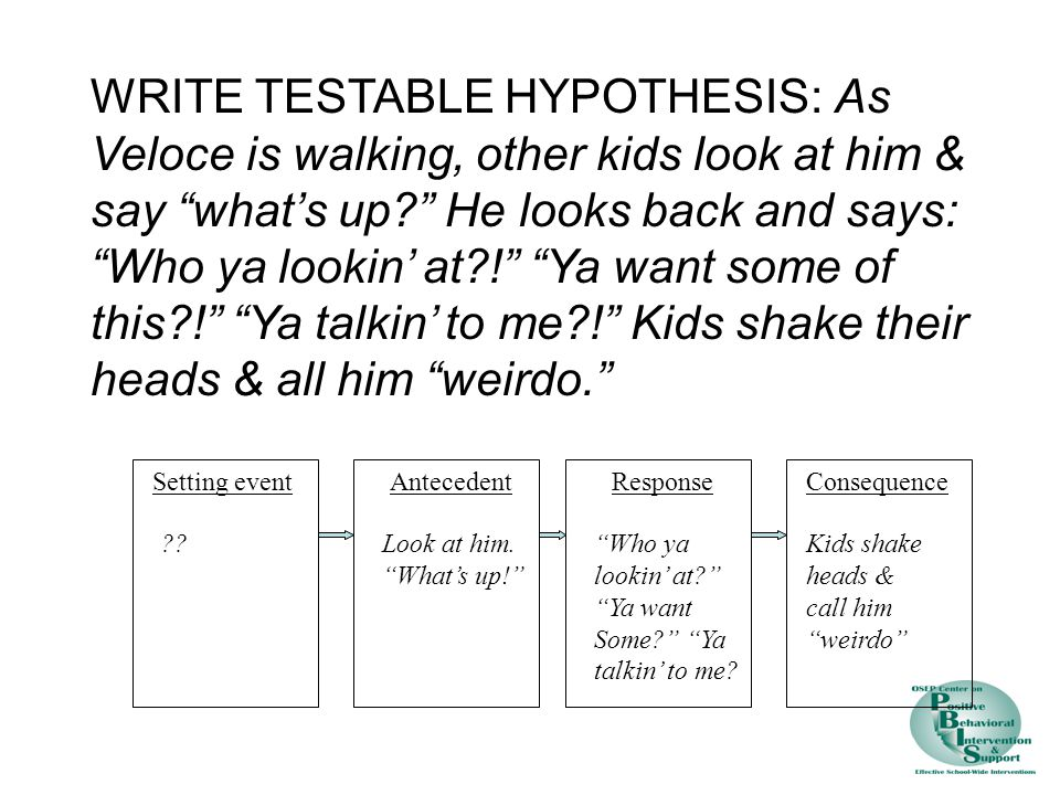 WRITE TESTABLE HYPOTHESIS: As Veloce is walking, other kids look at him & say what's up He looks back and says: Who ya lookin' at ! Ya want some of this ! Ya talkin' to me ! Kids shake their heads & all him weirdo.