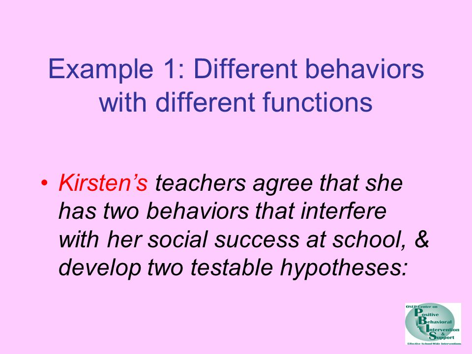 Example 1: Different behaviors with different functions