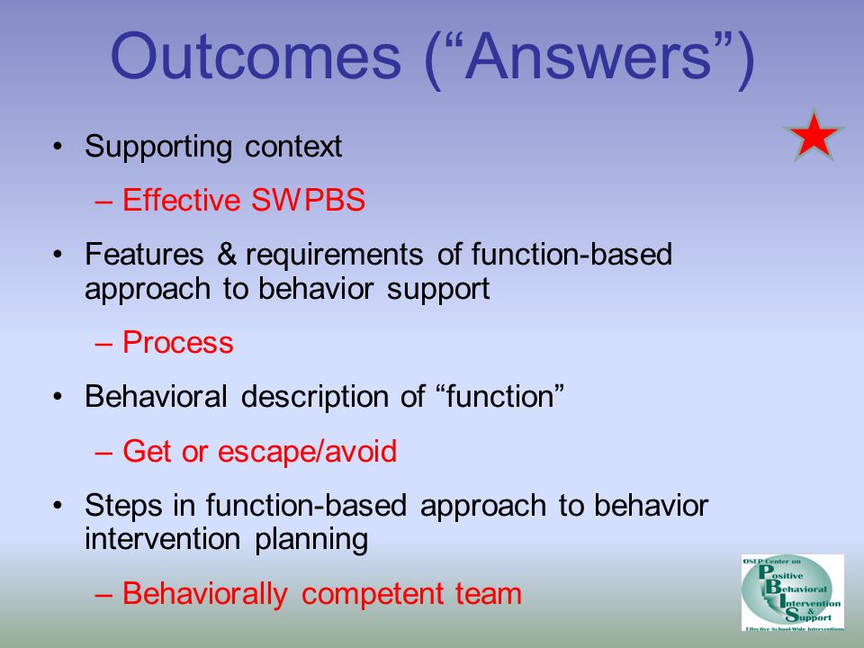 Outcomes ( Answers ) Supporting context Effective SWPBS