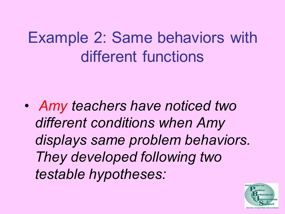 Example 2: Same behaviors with different functions