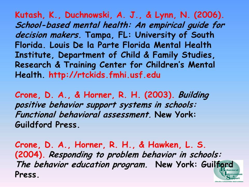 Kutash, K. , Duchnowski, A. J. , & Lynn, N. (2006)