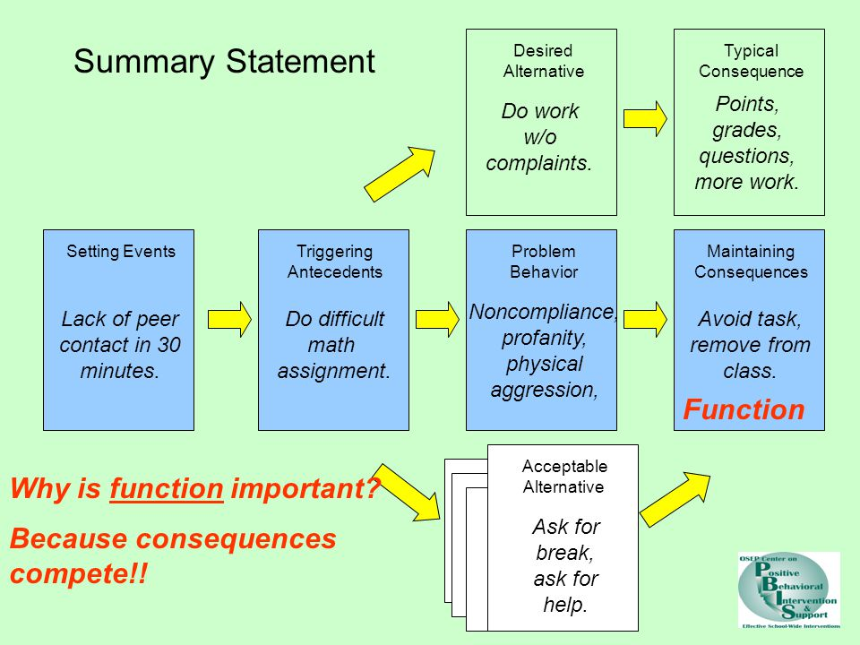Summary Statement Function Why is function important