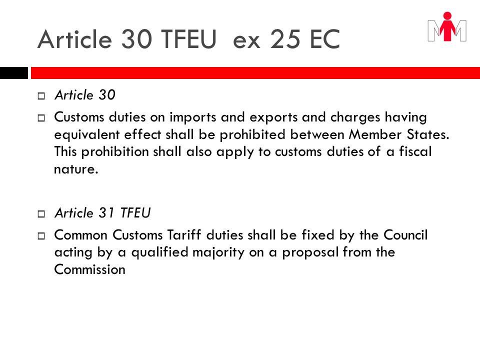 Article 30 TFEU ex 25 EC Article 30