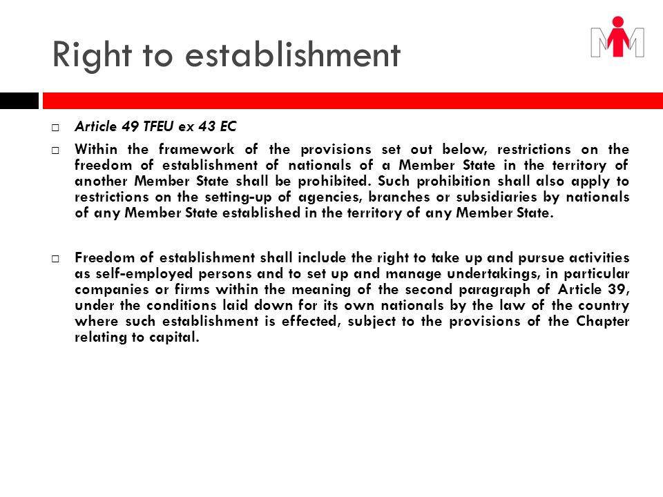 Right to establishment