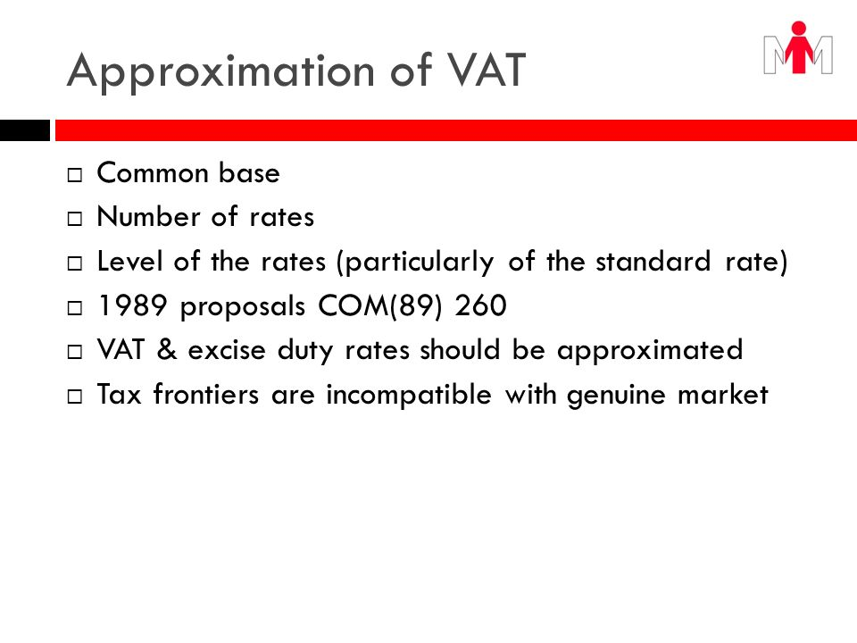 Approximation of VAT Common base Number of rates
