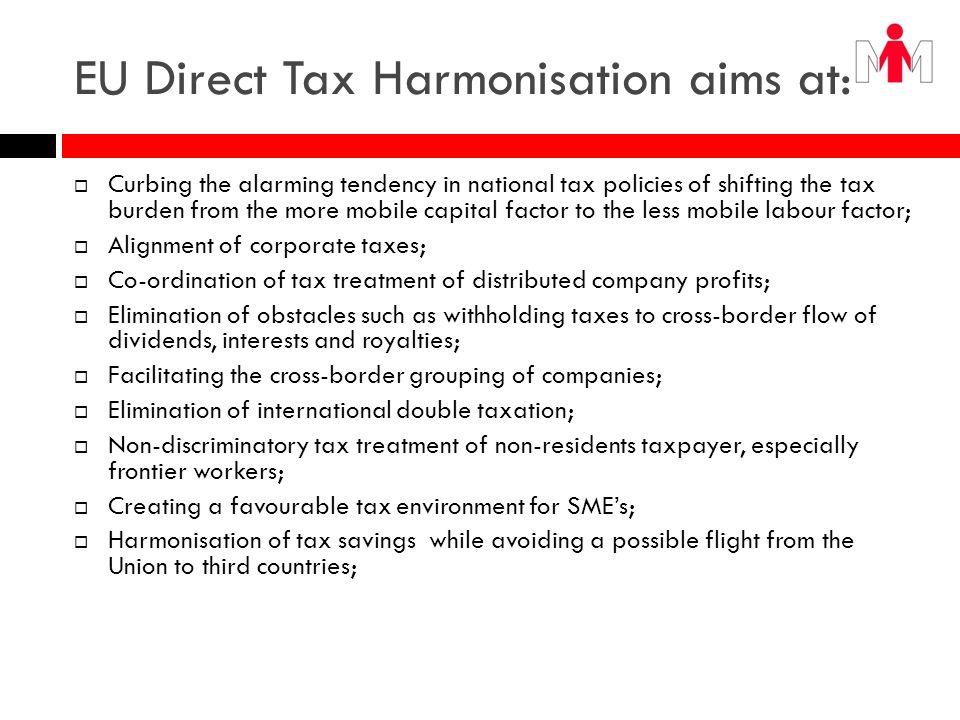 EU Direct Tax Harmonisation aims at: