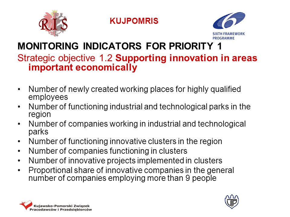 MONITORING INDICATORS FOR PRIORITY 1