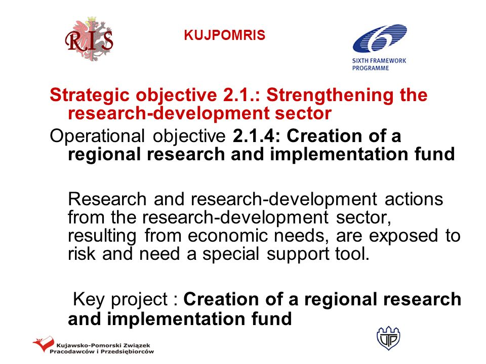 Strategic objective 2.1.: Strengthening the research-development sector