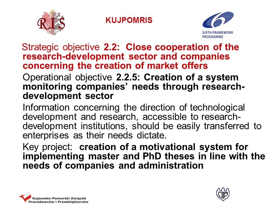 Strategic objective 2.2: Close cooperation of the research-development sector and companies concerning the creation of market offers