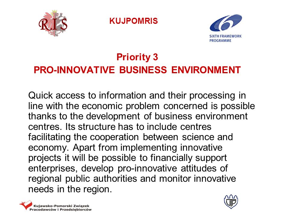 PRO-INNOVATIVE BUSINESS ENVIRONMENT