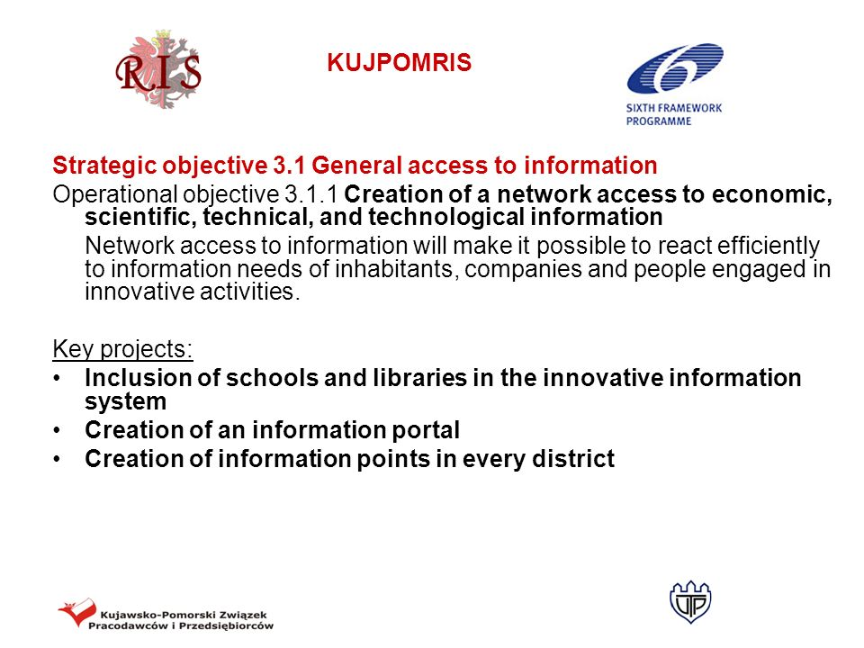Strategic objective 3.1 General access to information