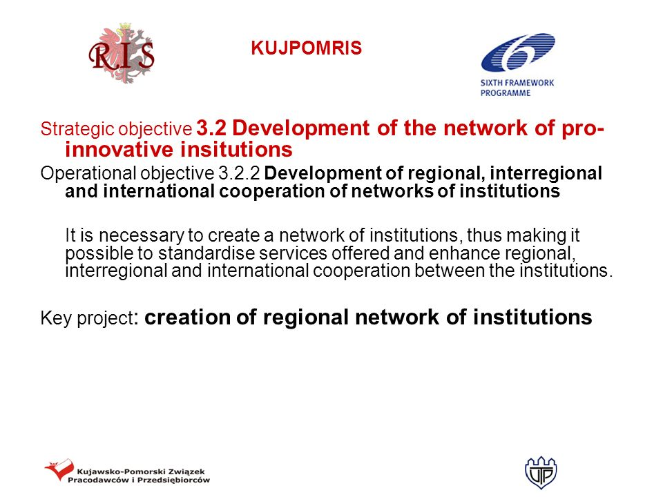 Strategic objective 3.2 Development of the network of pro-innovative insitutions