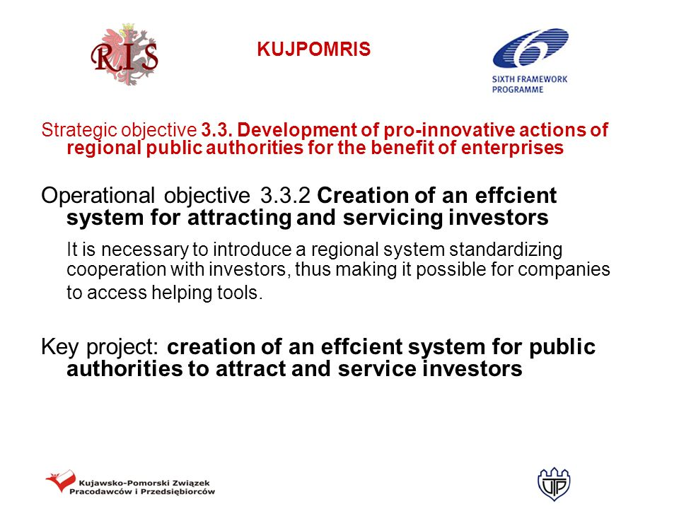 Strategic objective 3.3. Development of pro-innovative actions of regional public authorities for the benefit of enterprises