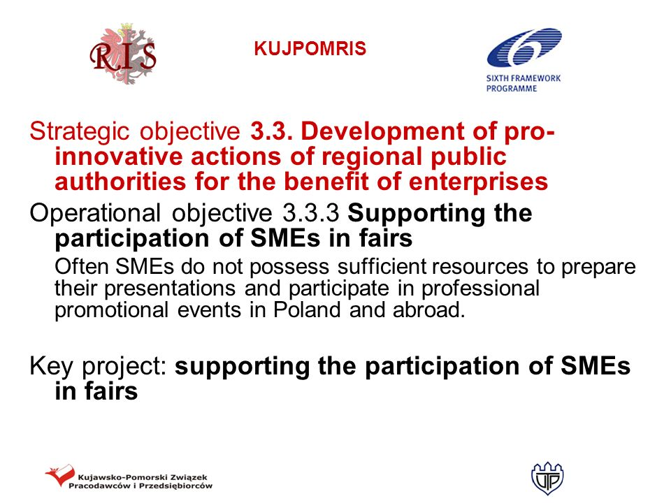 Key project: supporting the participation of SMEs in fairs