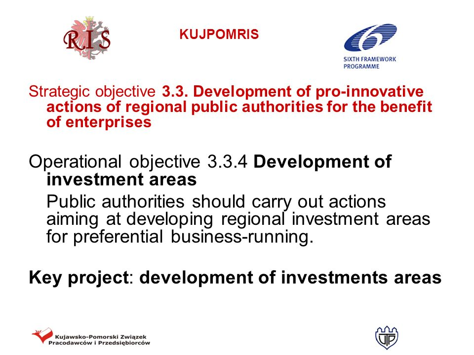 Operational objective 3.3.4 Development of investment areas