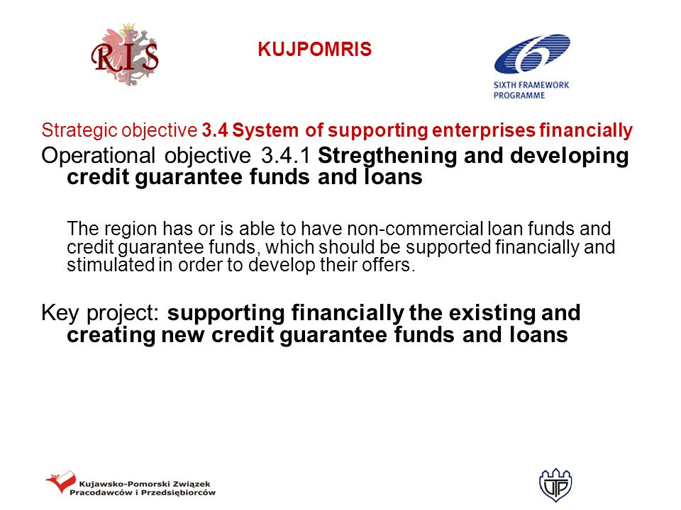 Strategic objective 3.4 System of supporting enterprises financially