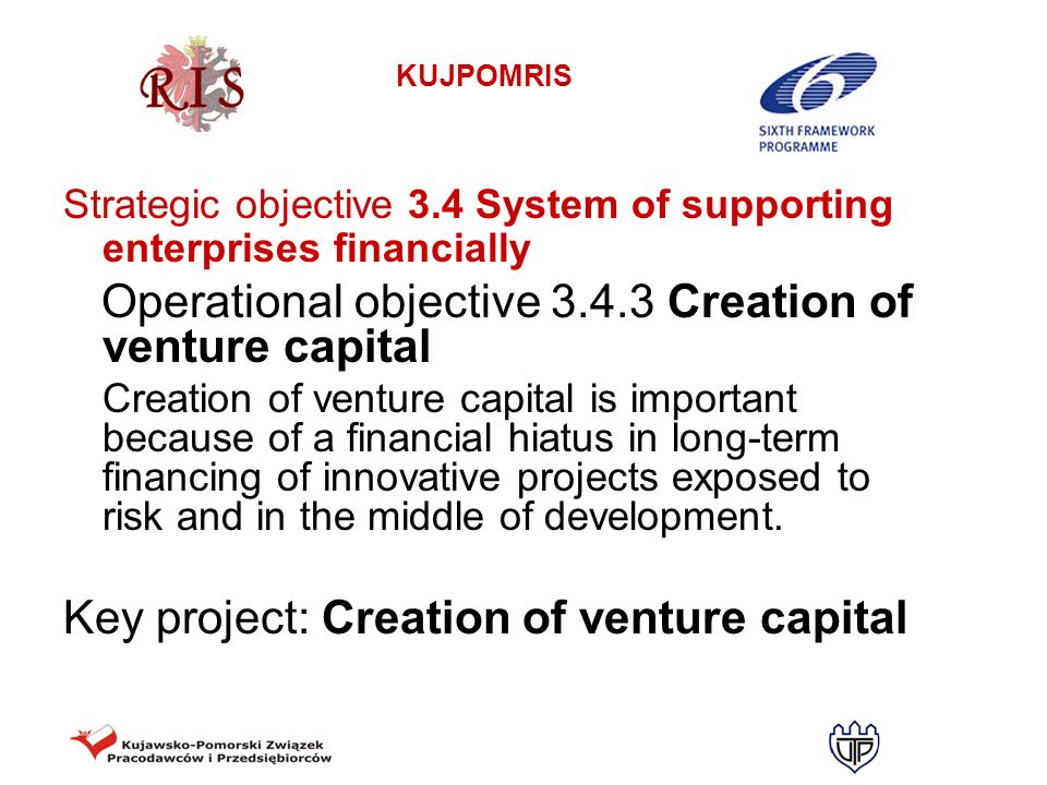 Operational objective 3.4.3 Creation of venture capital
