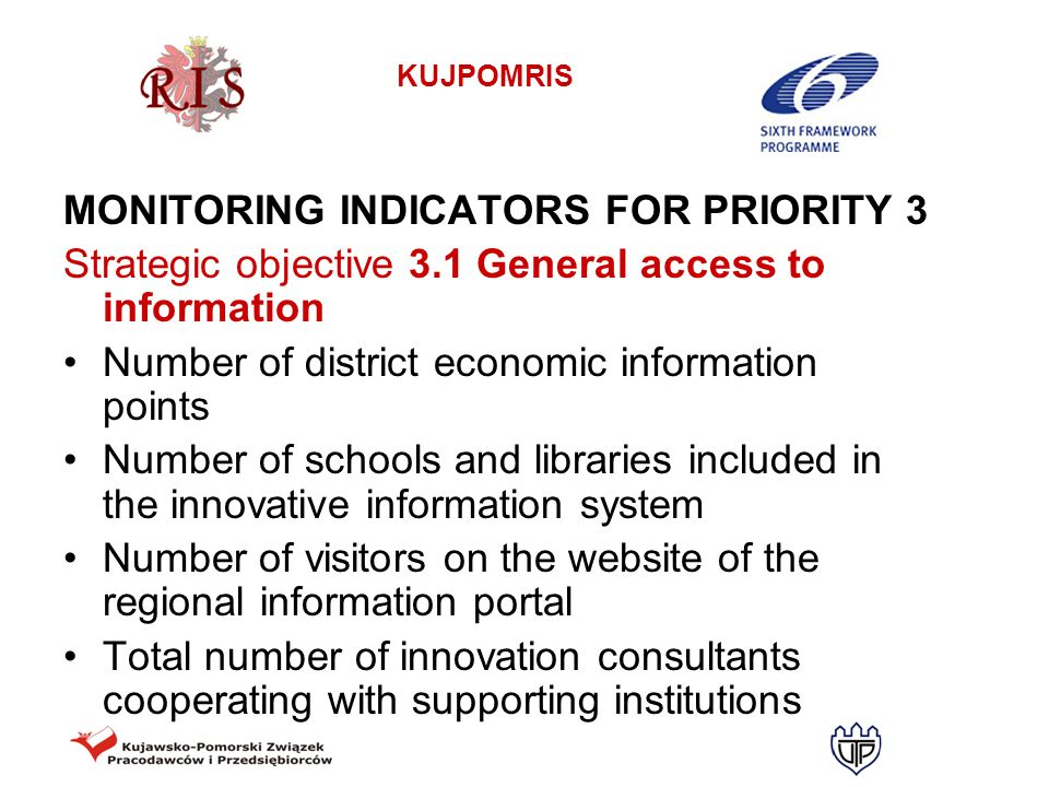 MONITORING INDICATORS FOR PRIORITY 3