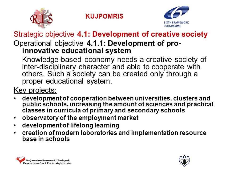 Strategic objective 4.1: Development of creative society