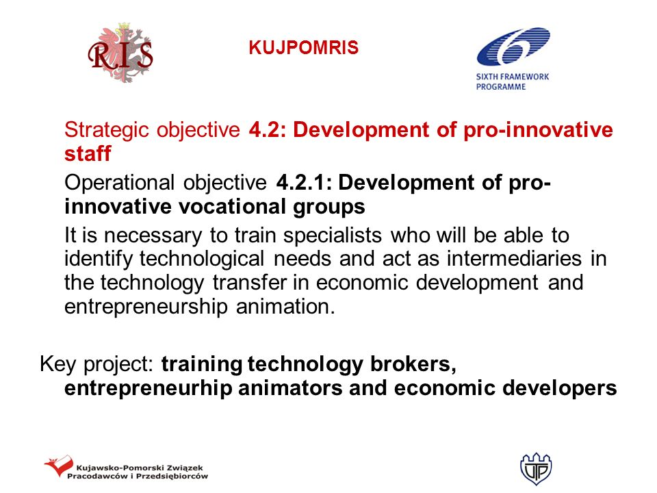 Strategic objective 4.2: Development of pro-innovative staff