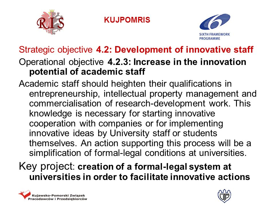 Strategic objective 4.2: Development of innovative staff