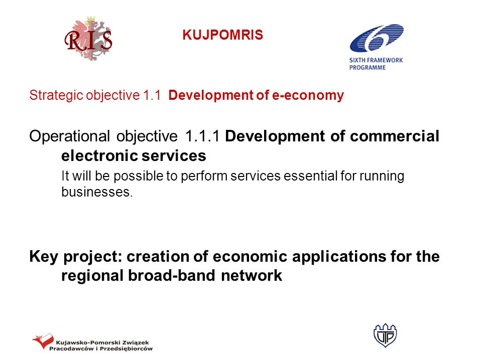 Strategic objective 1.1 Development of e-economy