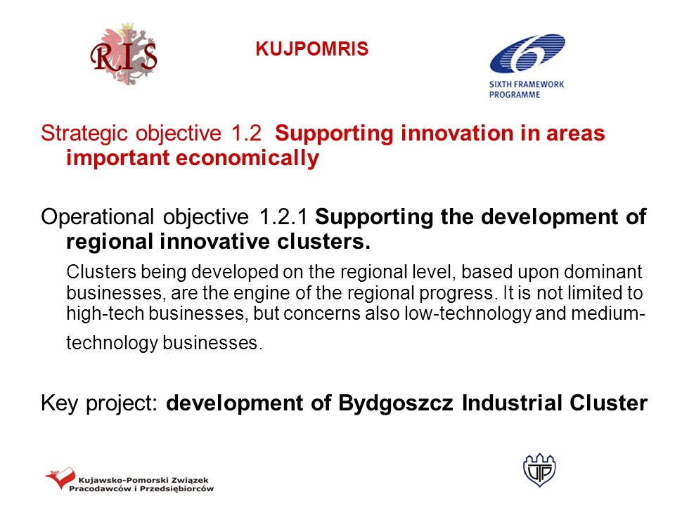Strategic objective 1.2 Supporting innovation in areas important economically