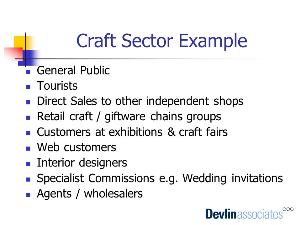 Craft Sector Example General Public Tourists