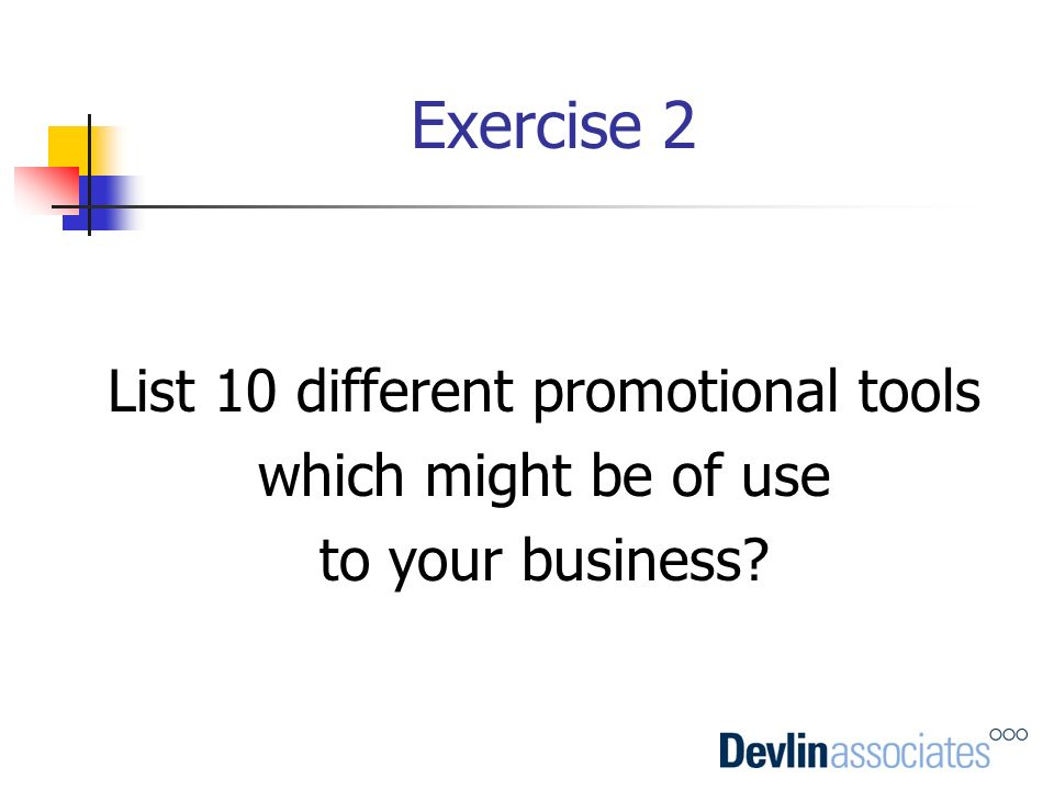 List 10 different promotional tools