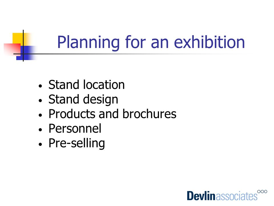 Planning for an exhibition