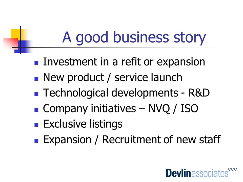 A good business story Investment in a refit or expansion