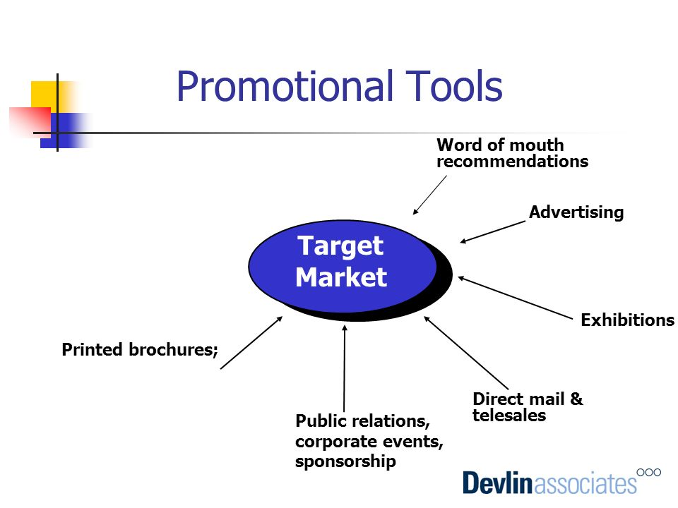 Promotional Tools Target Market Word of mouth recommendations