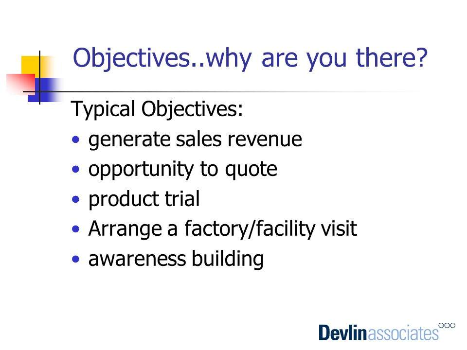 Objectives..why are you there