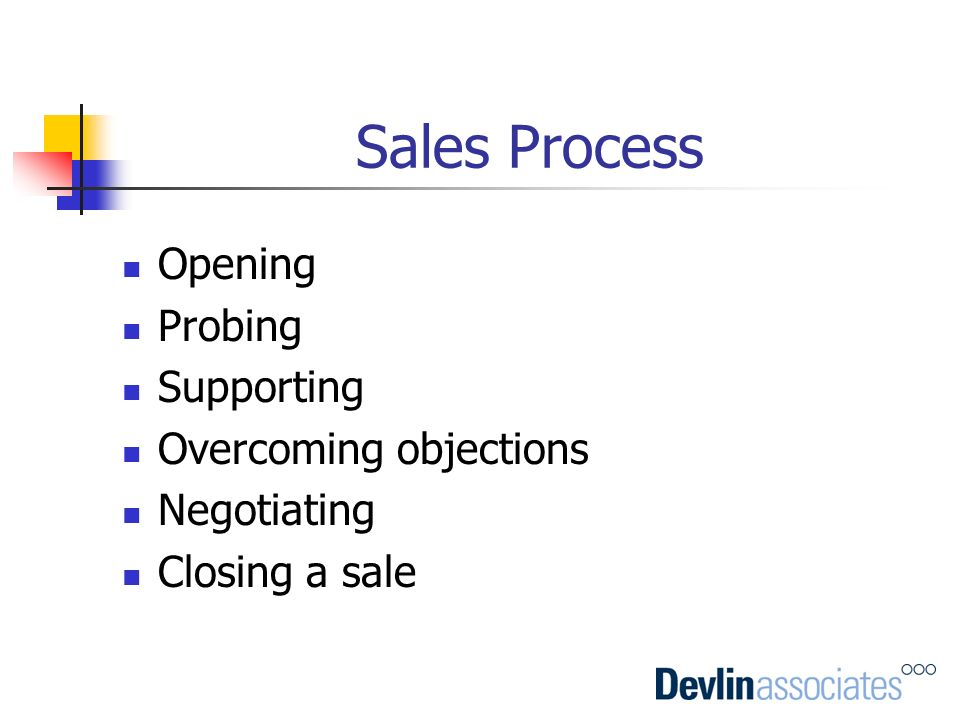Sales Process Opening Probing Supporting Overcoming objections