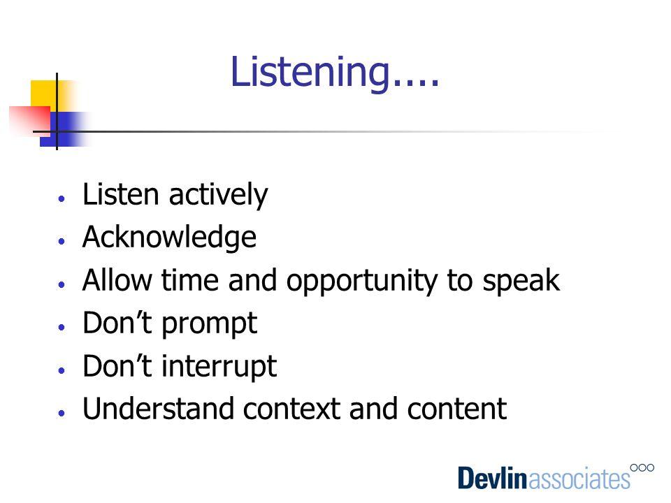 Listening.... Listen actively Acknowledge