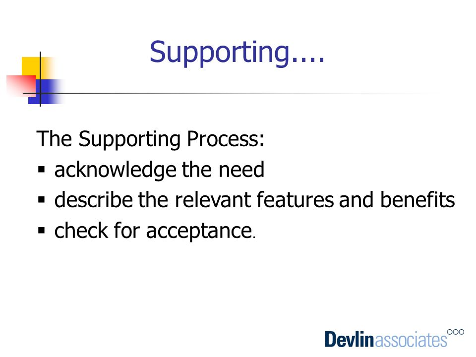 Supporting.... The Supporting Process: acknowledge the need