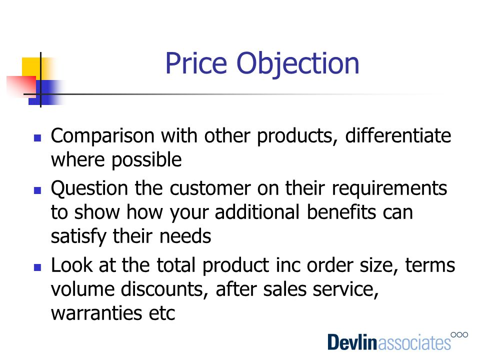 Price Objection Comparison with other products, differentiate where possible.