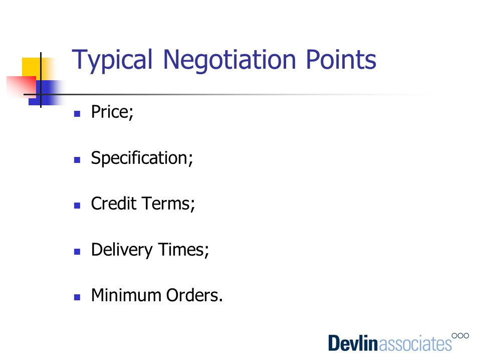 Typical Negotiation Points