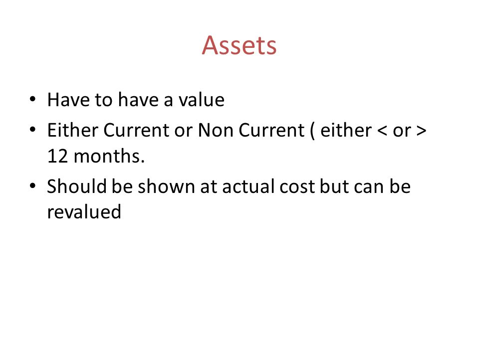 Assets Have to have a value