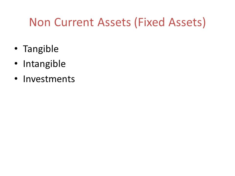 Non Current Assets (Fixed Assets)
