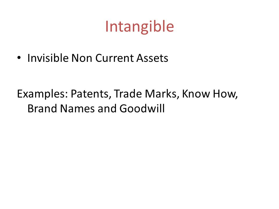 Intangible Invisible Non Current Assets