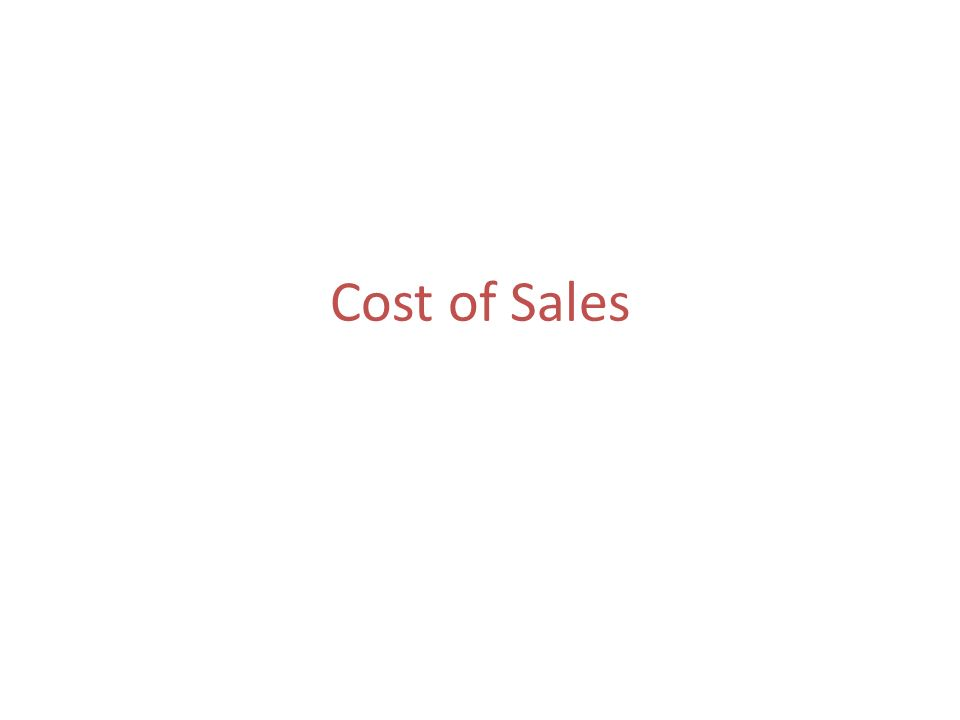 Cost of Sales