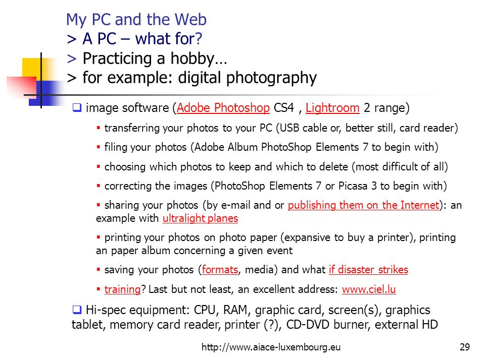 My PC and the Web > A PC – what for